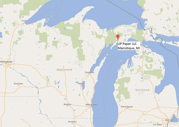 Map of Wisconsin and The Upper Peninsula with Manistique pinned as a location.